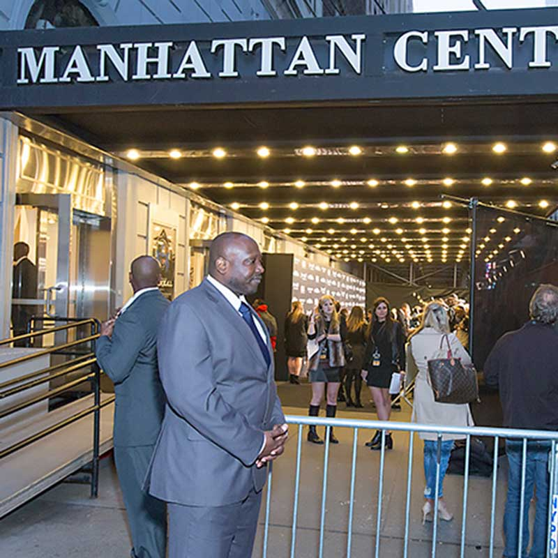 Security Guard standing outside Manhattan Center during a performance